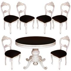 19th Century set Baroque Round Table Extendable Six Chairs, white painted