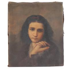 19th Century Untitled Oil Painting of a Young Lady, circa 1850-1870