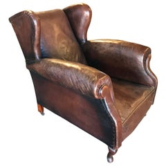 Wing Back Leather Club Chair