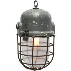 Gray Vintage European Industrial Cage Lamp, Podoli L III