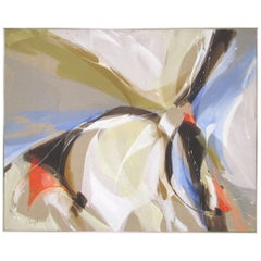 Large Abstract Painting Signed J. Nagel, circa 1970s