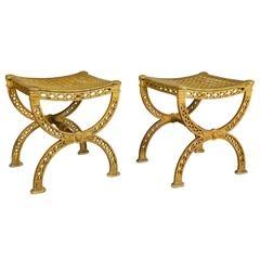 Pair of Neoclassic Yellow Painted Cast Iron Stools