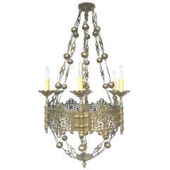 1920s Six-Armed Tudor-Style Brass Chandelier