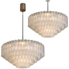 Pair of Huge Doria Giant Ballroom Chandeliers, 130 and 4 Reserve Glass Tubes