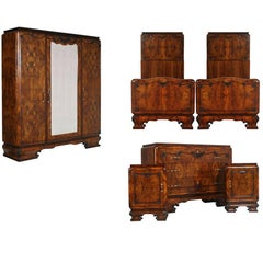 1920s Italian Art Deco Bedroom Set in Walnut and Burl Walnut by Meroni & Fossati