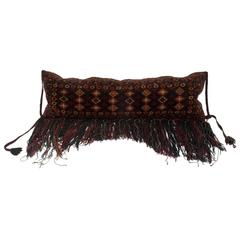 Tribal Fringed Textile Wall Hanging Pillow with Leather Back