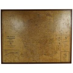 Large Framed School Map of France Drawn and Produced by Andre Lesot, Paris