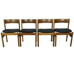 Set of Four Dining Chairs in Solid Oak Manufactured by FDB, circa 1960