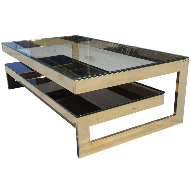 Belgo Chrome Gold-Plated G- Coffee Table Hollywood Regency