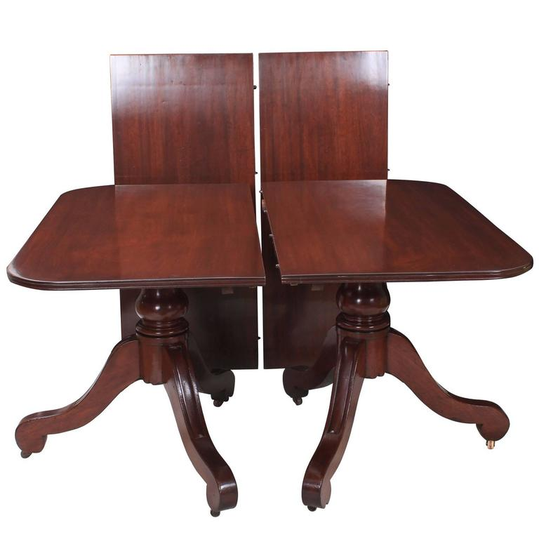Mahogany twin pillar pedestal dining table for sale at 1stdibs for Pillar dining table