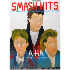 'Smash Hits-December 1985 Portrait Painting by Alan Fears, 1980s Pop Music