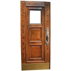 1880s Victorian Studded Wood Door with Window and Original Bronze Hardware