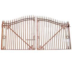 1920s Pair of Large Entrance Driveway Wrought Iron Gates