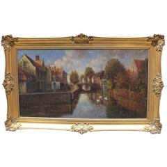 Large Dutch Landscape Oil on Canvas Set in Gilt Frame