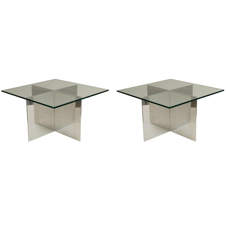 Aluminum and Glass Table by Paul Mayen