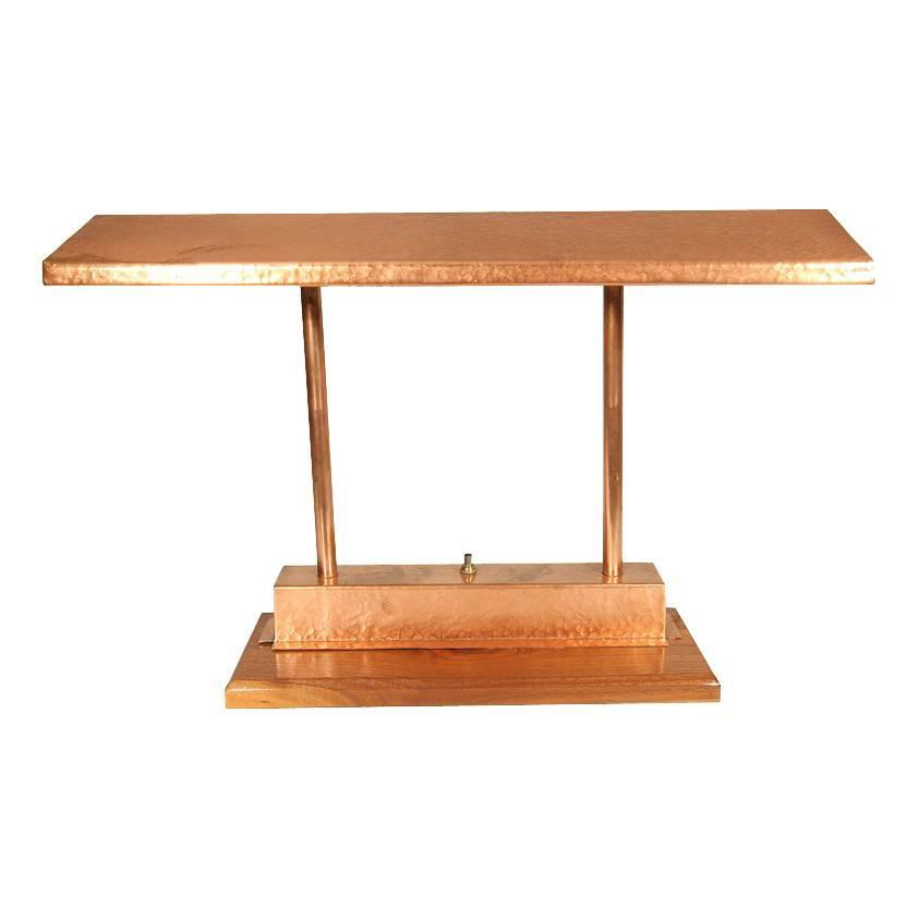 Vintage Craftsman Style Polished Copper Fluorescent Desk Lamp For Sale At  1stdibs