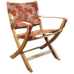 Vintage Fabric Campaign Chair Retro Floral Handcrafted One-Off Design Piece