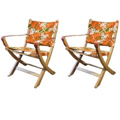 Heals Orange and Green Vintage Fabric Campaign Chair Designer One-Off Pieces