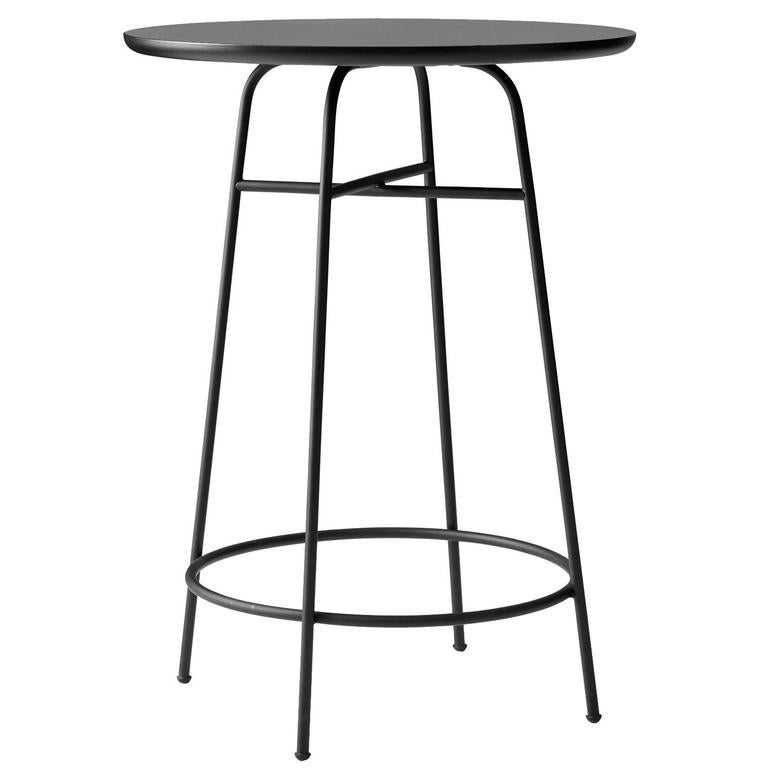 Counter Table by Afteroom, Powder-Coated Steel Frame. Durable Black Laminate Top For Sale