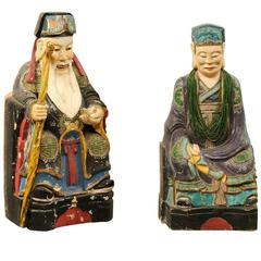 Pair of Early 20th Century Chinese Carved and Painted Wood Emperor Figures