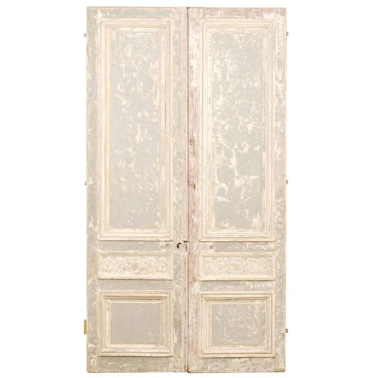 Pair of Tall French Doors with Scraped Paint Finish in Light Grey and Cream