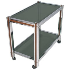 Tecno Style Chrome Bar Cart, Mahogany Insert Top Crystal Fumè Tempered Glass