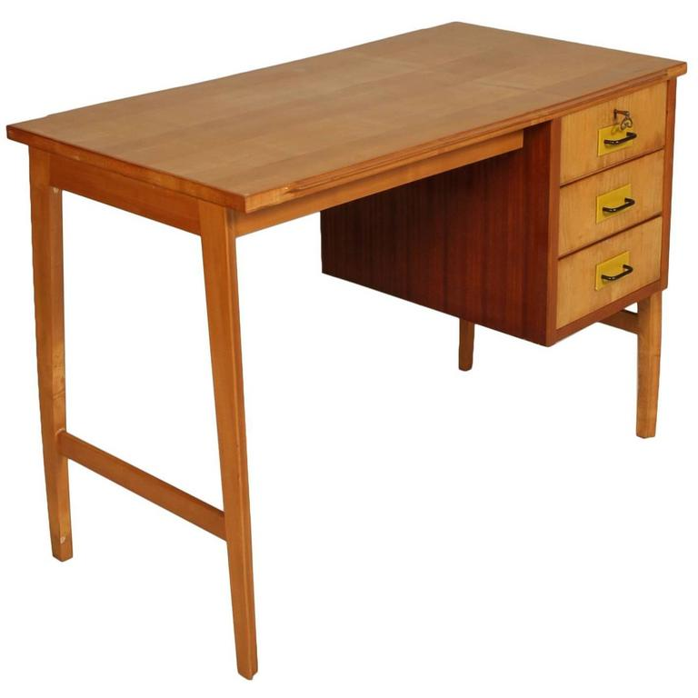 Mid Century Modern Desk Solid Beech Maple And Gany Applied Three Drawers For
