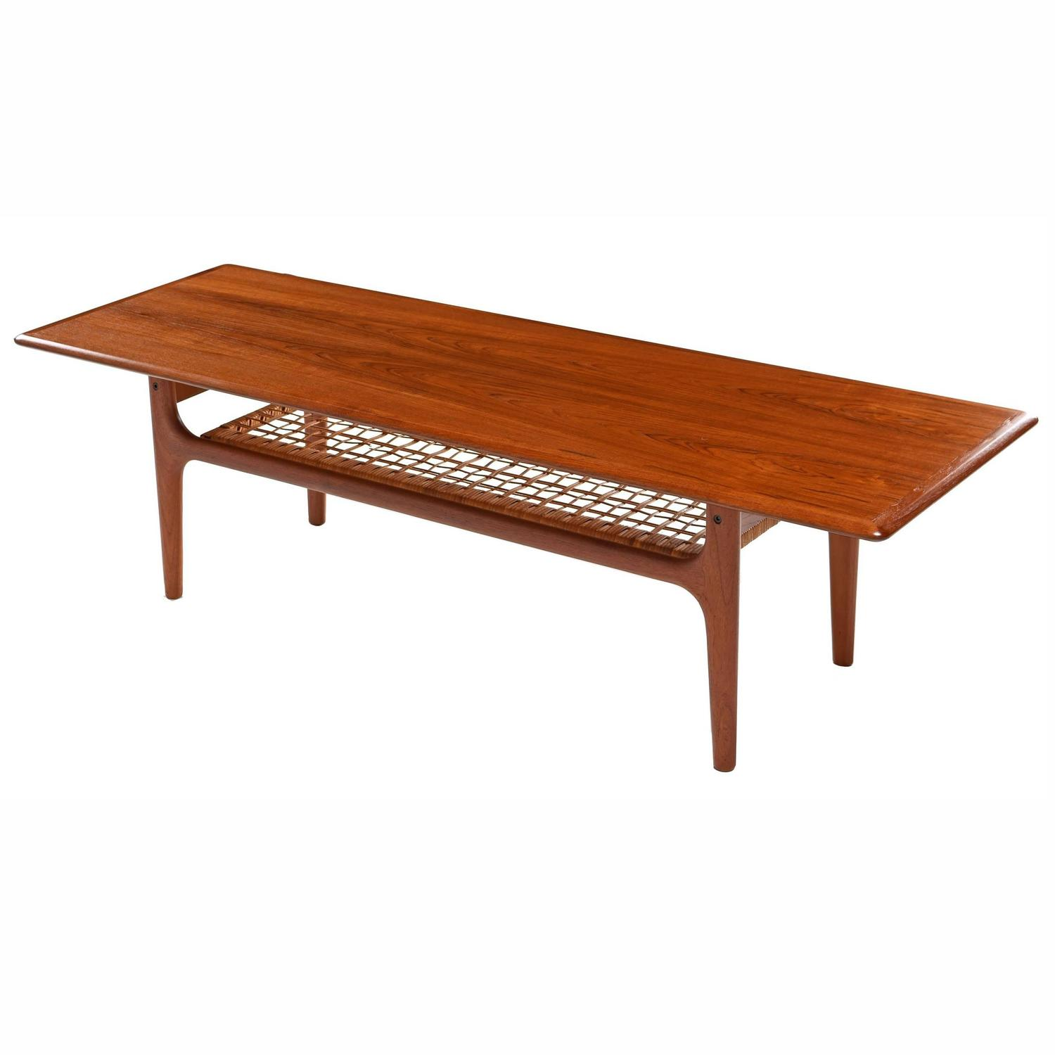 Scandinavian Modern Teak and Cane Coffee Table by Trioh M¸bler For