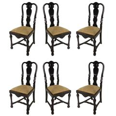 Six Stunning Small Antique Dutch Dining Chairs