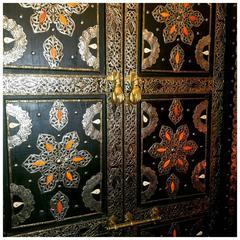 Safi Black Moroccan Wooden Door, Camel Bone and Metal Inlaid