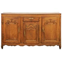 French 1800s Louis XV Style Buffet with Single Drawer over Three Carved Doors