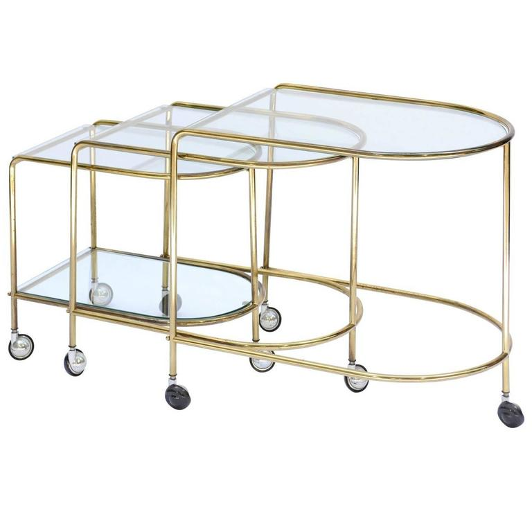 Set of three french 1960s brass and glass gigognes nesting tables on casters - Tables gigognes design ...