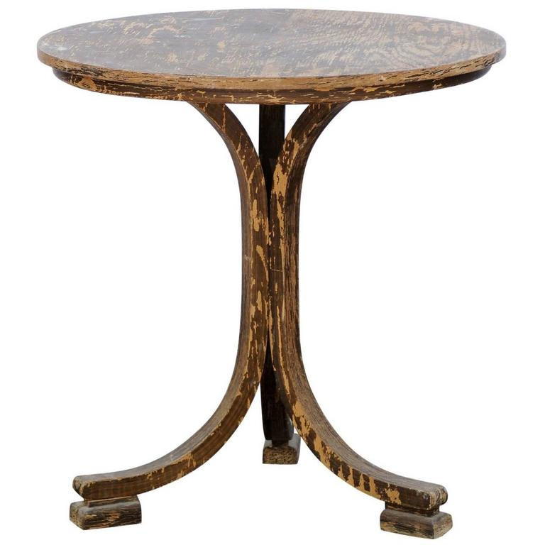 French Stripped Wood Round Pedestal Side Table Circa 1920 With Mottled  Finish For Sale
