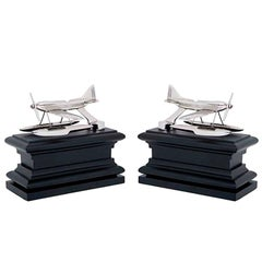 Planes Set of Two Book End in Nickel or Brass Finish