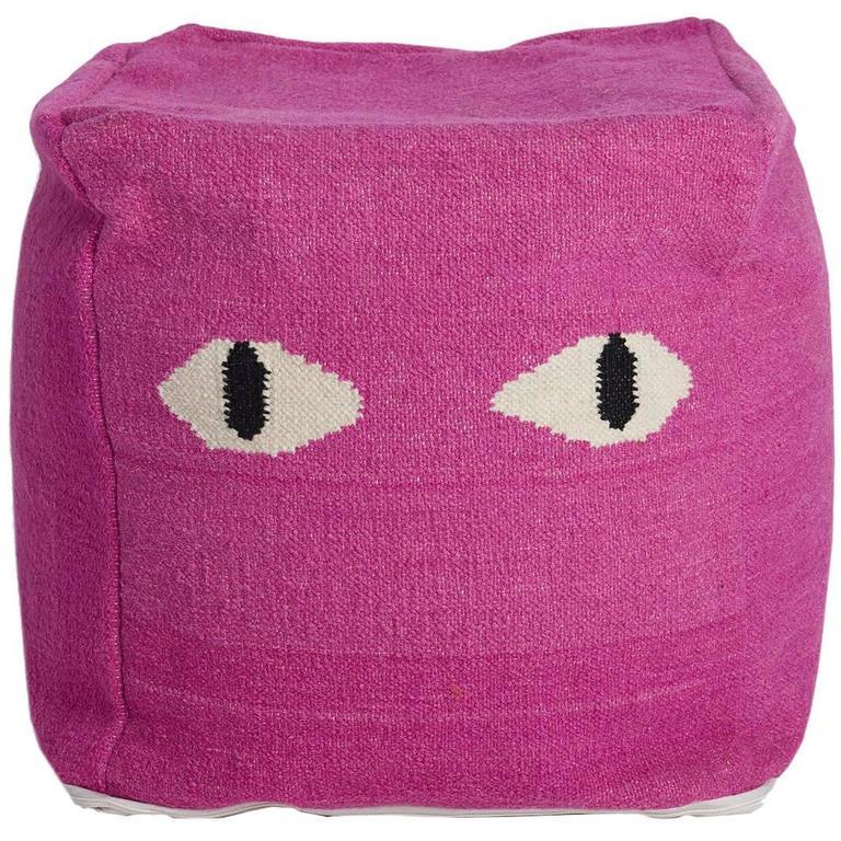 Aelfie Magenta Pink Eyes Pouf Cushion Seat