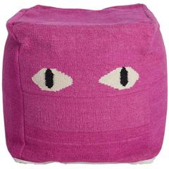 Aelfie Magenta Pink Eyes Pouf Cushion Seat