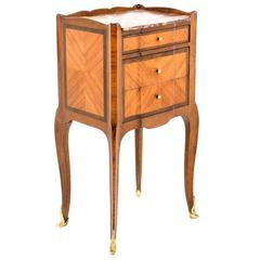 Antique Inlaid Kingwood Marble-Top Nightstand, circa 1900