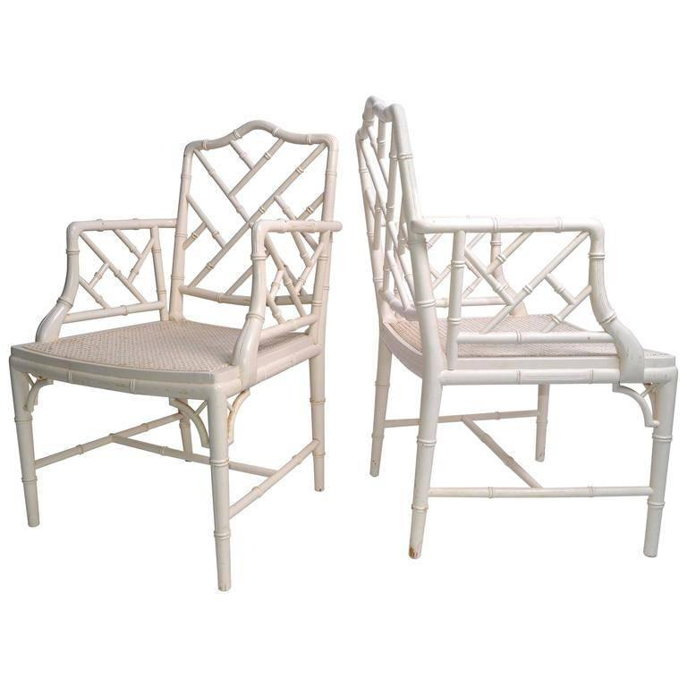 Hollywood Regency Faux Bamboo Chippendale Armchairs, Pair