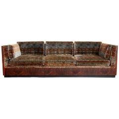 Signed Milo Baughman for Thayer Coggin Rosewood Sofa, Jack Lenor Larsen Fabric