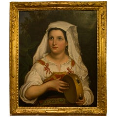 "Enchanting Portrait of ""Fanciulla con tamburello"", Oil on Canvas, 1850s"