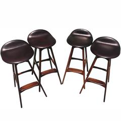 Set of Four Rosewood Barstools by Erik Buch for Dyrlund