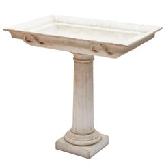 Grand Tour Neapolitan Carved Carrara Marble Font, 18th Century