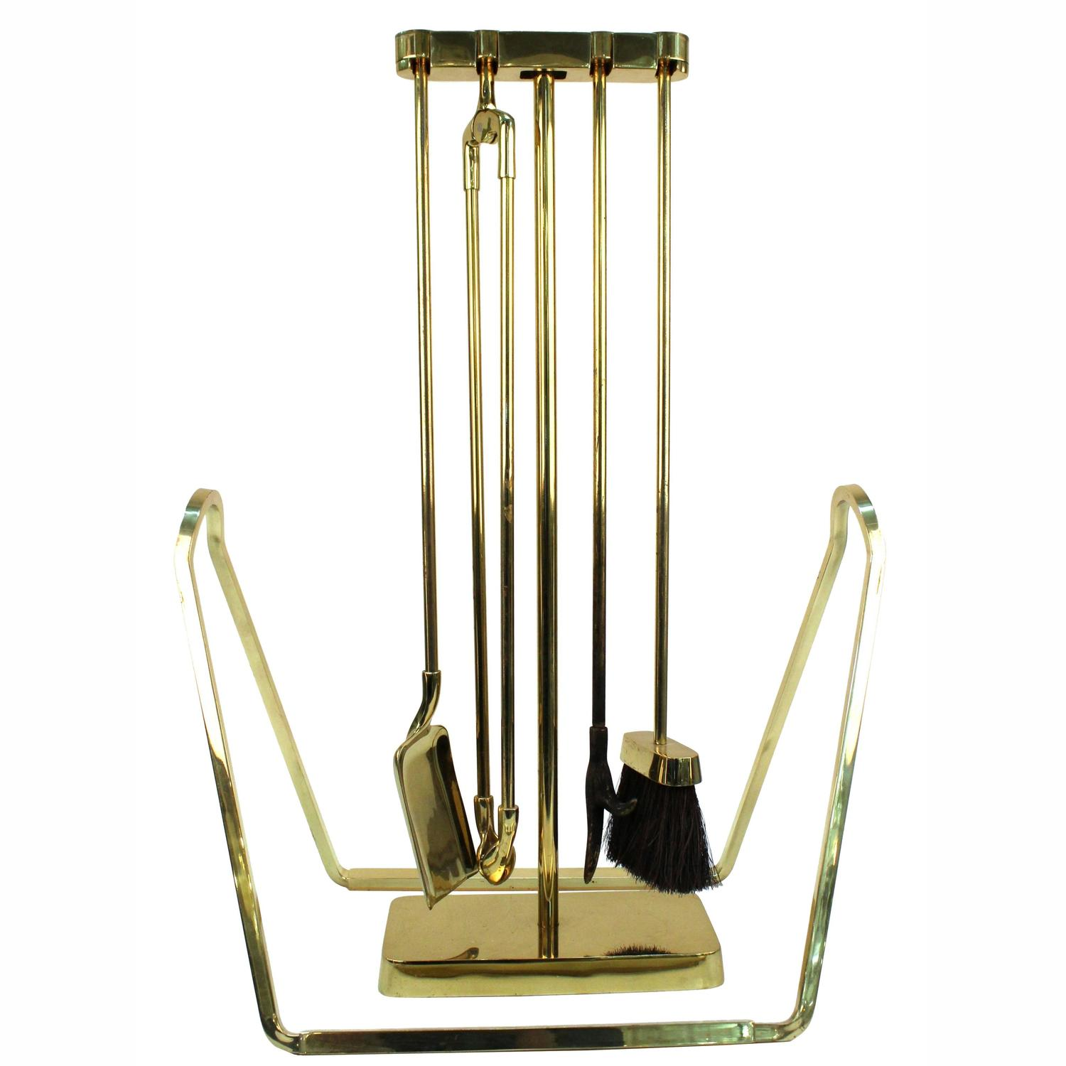 Virginia Metalcrafters Brass Fireplace Tools and Log Holder For ...