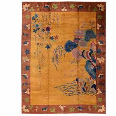 Beautiful Decorated Antique Chinese Art Deco Rug