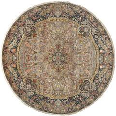 Round Vintage Tabriz Persian Rug