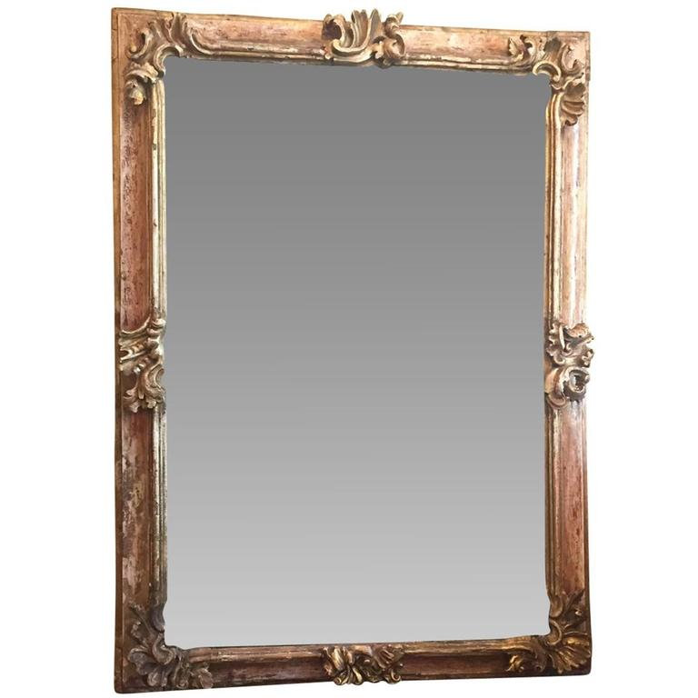19th Century Early Italian Baroque Framed Mirror For Sale