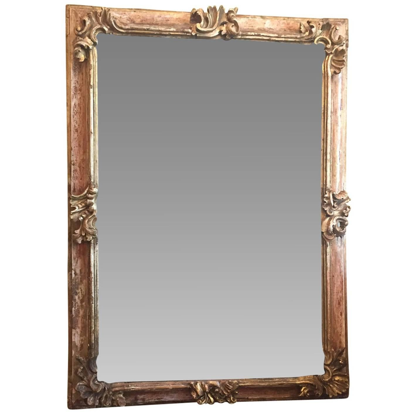 19th Century Early Italian Baroque Framed Mirror