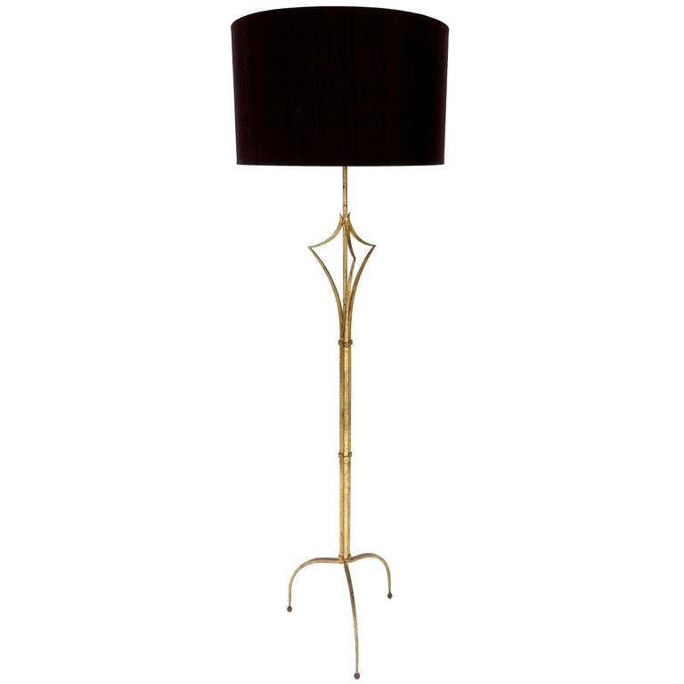 French Gilded Iron Floor Lamp in the Manner of Felix Agostini For Sale