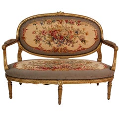 Antique French Louis XVI Style Gilt Carved Aubusson Upholstered Sofa Settee