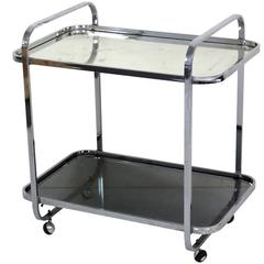 Modern Chrome and Nickel-Plated Tea Cart
